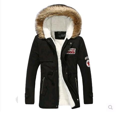 FuweiEncore Hombre Abrigo de Invierno cálido con Capucha Chaqueta de Pelo Largo de Chaquetas Espesor (