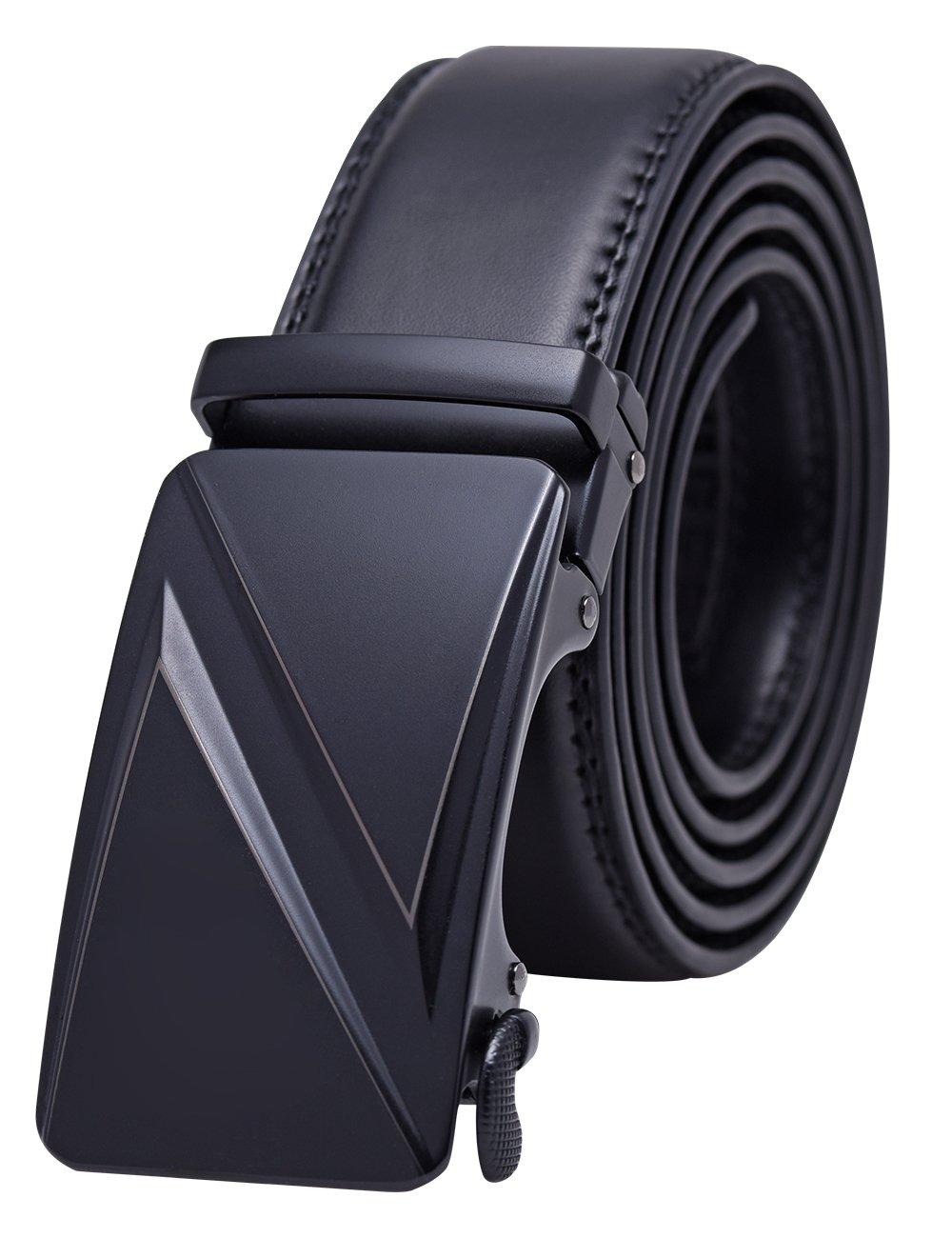 YoMeiJun Men's Leather Belt Automatic Chrom Buckle Black 35mm Z-XL