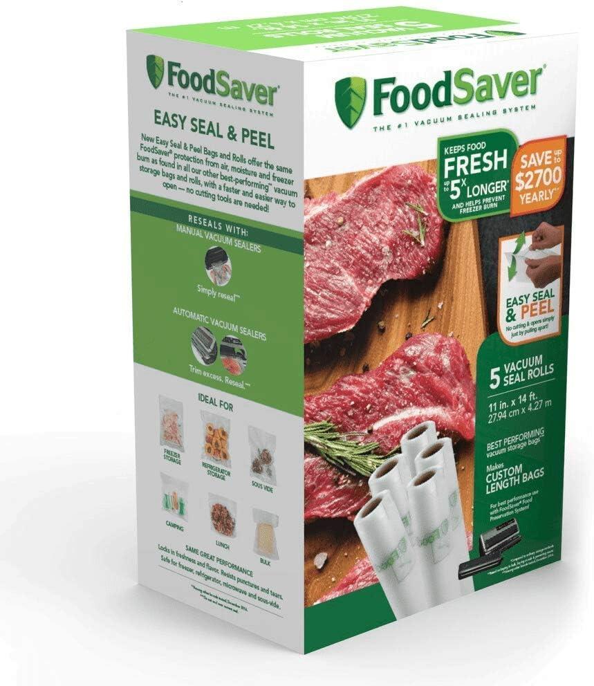"""FoodSaver Easy Seal & Peel 11"""" x 14' Vacuum Seal Roll, 5 Pack"""