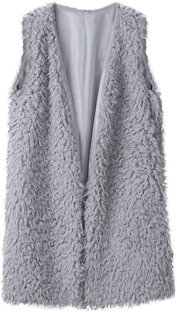 Nihewoo Women Faux Fur Waistcoat Coat Sleeveless Warm Vest Waistcoat Open Front Vest Coat Outwear Fleece Overcoat