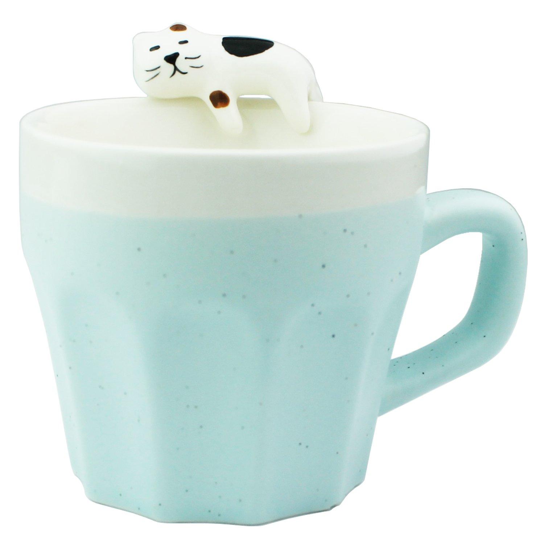 3D Ceramic Mug Handmade Cup with a cat naps on the mug 11oz (Blue)
