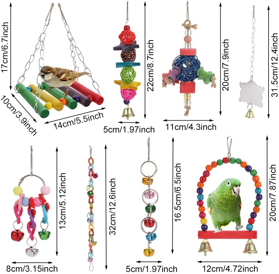 Xinstroe 8 Pcs Parrot Toy Set Birds Interaction Chew Toy Multicolor Wooden Swing Parakeet Cage Toy with Bell