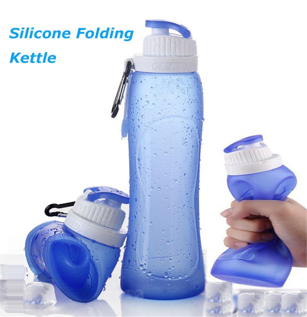 yusong silicona plegable botella de agua Deportes botella de agua para actividades al aire libre viajar, Camping, Senderismo, Caminar, Correr 500 ml (17 ...