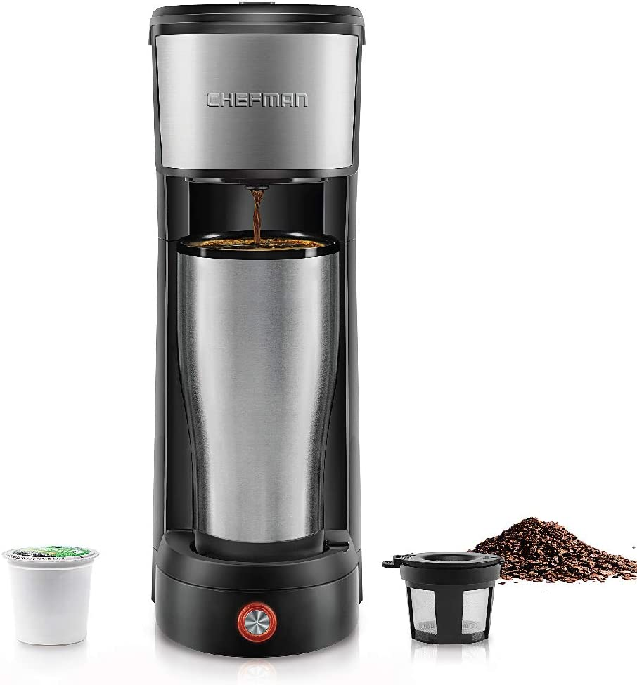 Chefman InstaCoffee Single Serve Coffee Maker Compatible with K-Cup Pods, Grounds & Loose-Leaf Tea w/Reusable Filter