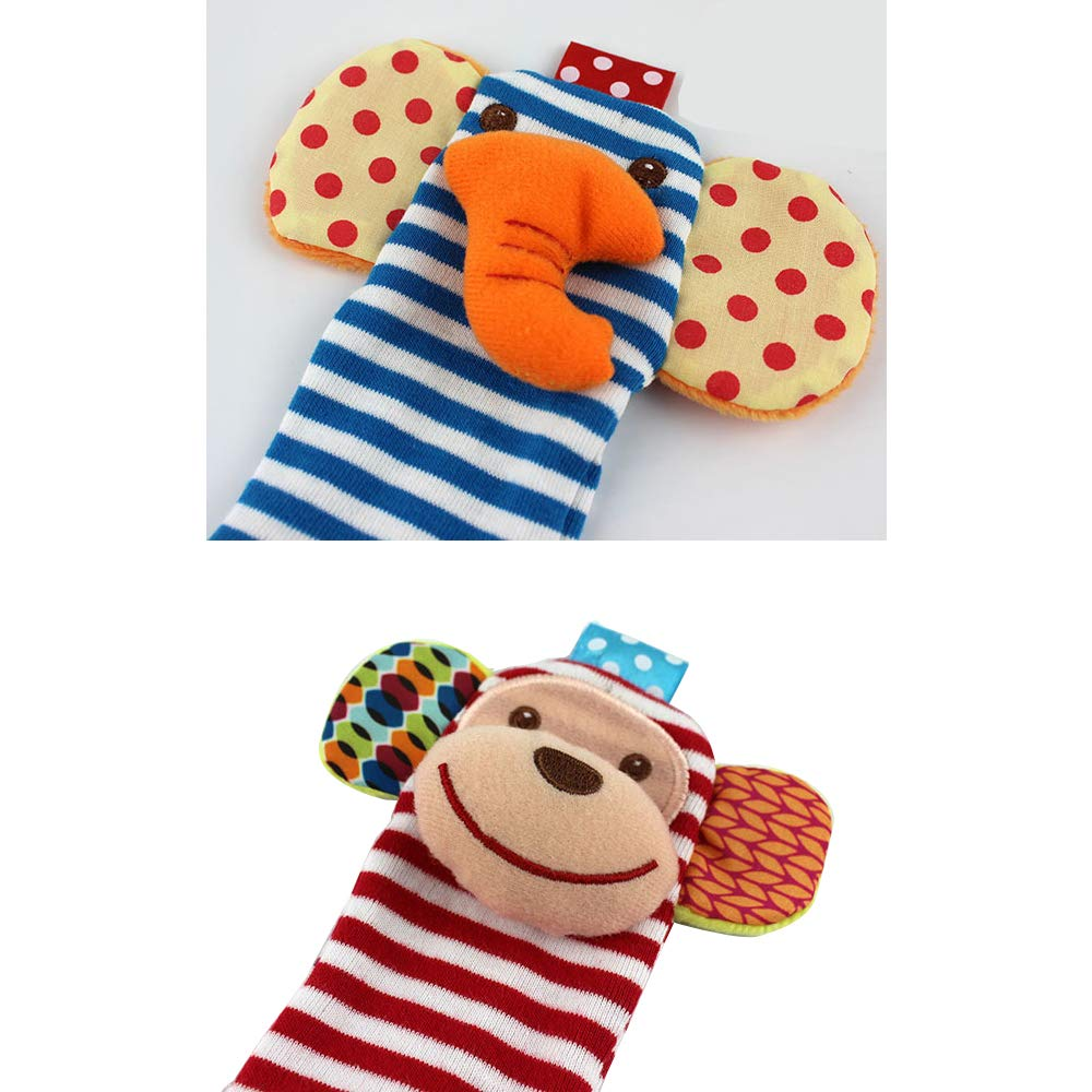 Sock Set Foot Baby Rattles Wrist Hand Rattles Soft Rhythm Toys Finder for Infants 4 Pcs