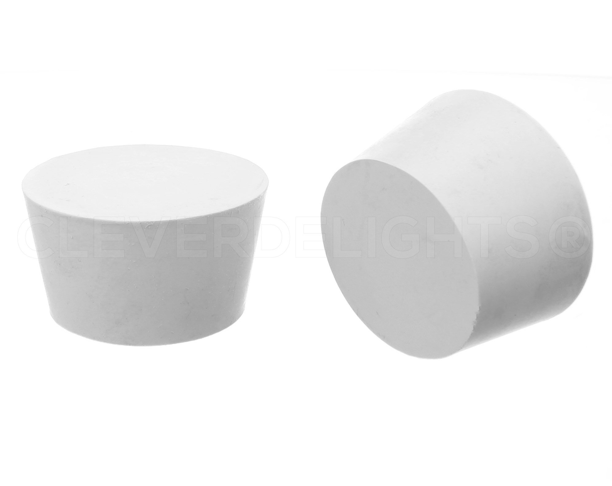 2 Pack - CleverDelights Solid Rubber Stoppers | Size 13.5 | 73mm x 60mm - 41mm Long - White Lab Plug #13 1/2 by CleverDelights