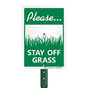 SmartSign Stay Off Grass Sign with Stake, Keep Off Grass Signs for Lawn, 21 Inches Tall Stake & Sign Kit, 10x7 Inches Aluminum Sign