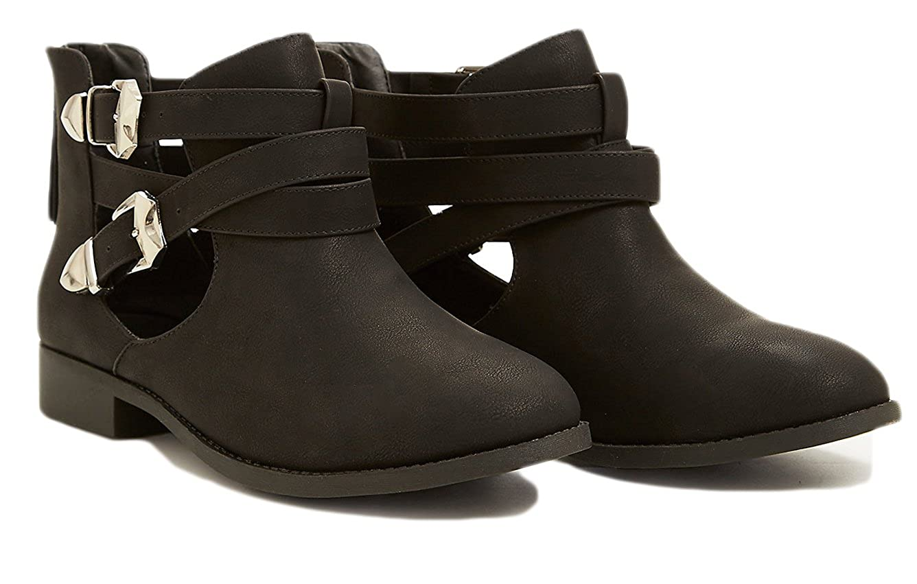 45106b52c24 Amazon.com | Charles Albert Free Reign Cut Out Buckle Strappy Bootie ...
