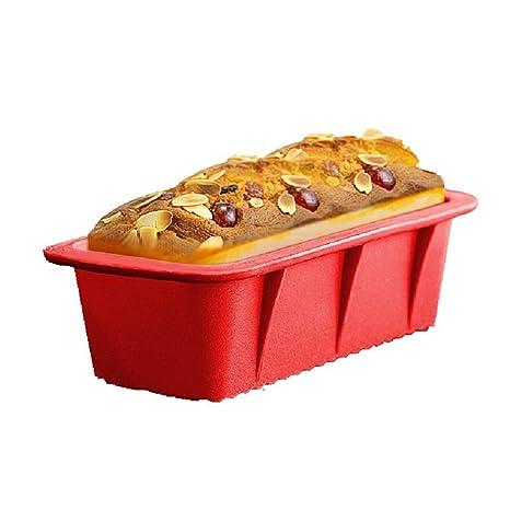 Hangnuo - Molde para hornear pan anti-adherente, molde para pan de silicona rectangular