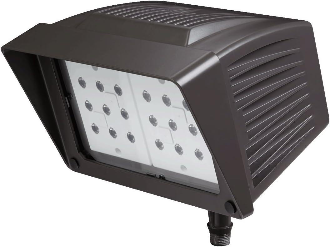 Atlas Lighting PFM43LED Knuckle Mount LED Flood Light 43 Watt 120 – 277 Volt Epoxy Guard Black Power Flood Pro
