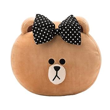 LINE FRIENDS Seat Cushion - Choco Character Decorative Throw Pillow, 30cm, Black Ribbon