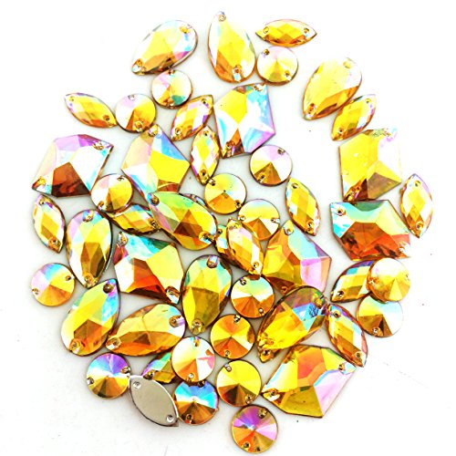 PEPPERLONELY 50PC Yellow AB Color Sew On Mixed Shape & Size Flat Back Faceted Acrylic Crystals Rhinstones, 7~21mm