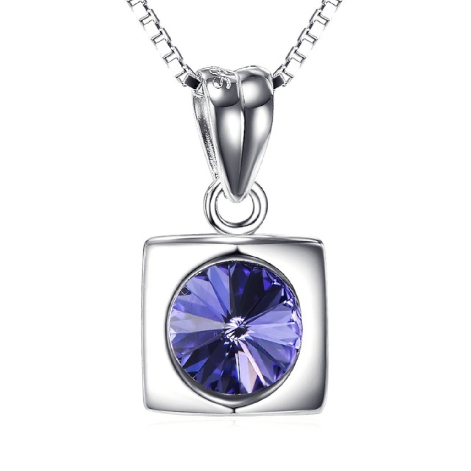 CS-DB Womens Necklaces by Silver Pendant Purple Crystal Square Jewelry Charm Girls