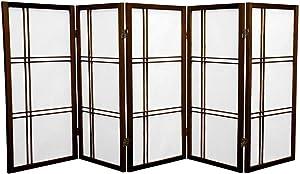Oriental Furniture 3 ft. Tall Double Cross Shoji Screen - Walnut - 5 Panels