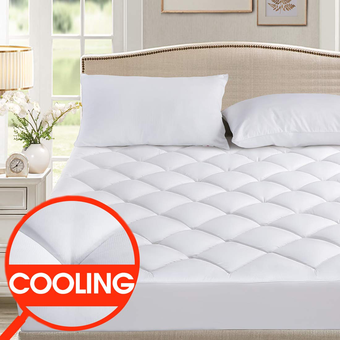 SOPAT King Mattress Pad Cover - Cooling Pillow Top Plush Mattress Topper Reversible Quilted Fitted Mattress Protector with 8-21 inch Deep Pocket for Summer