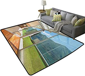 Landscape Baby Crawling mat Apartment Villa with Patio and Garden Mountain Ocean Sunny ImageHigh-end Luxury Bedroom Carpet White Forest Green and Blue 79 x 94 Inch