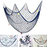 Lesirit Decorative Fishing Net, Wall Decor, Nautical Style Hanging Ornaments Bedroom Living Room Home Party Decorations from (Blue, 3.3X6.5ft with shell)