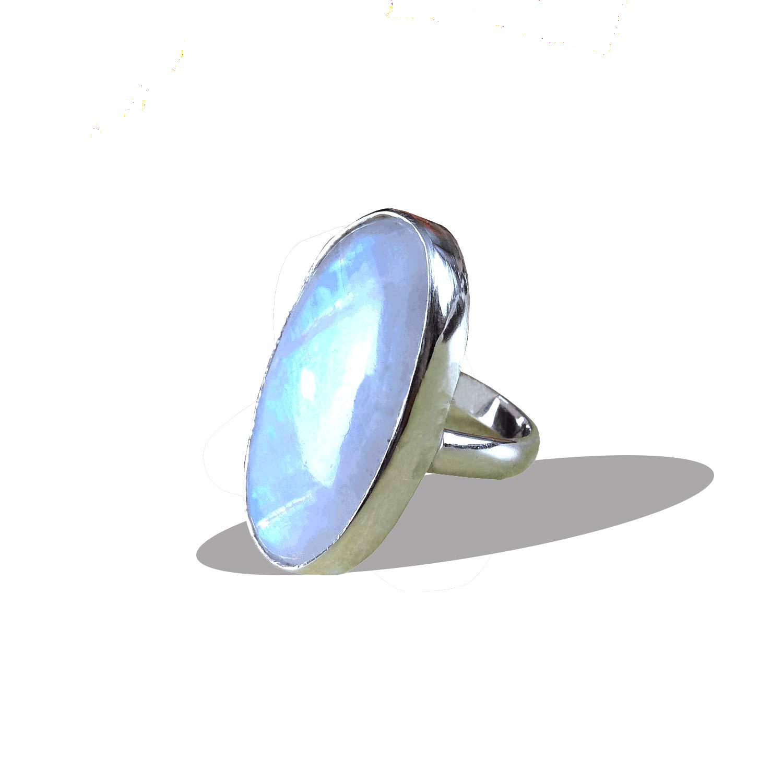 handmade ring moonstone ring natural rainbow moonstone ring silver ring gift ring Rainbow Moonstone Ring solid silver ring