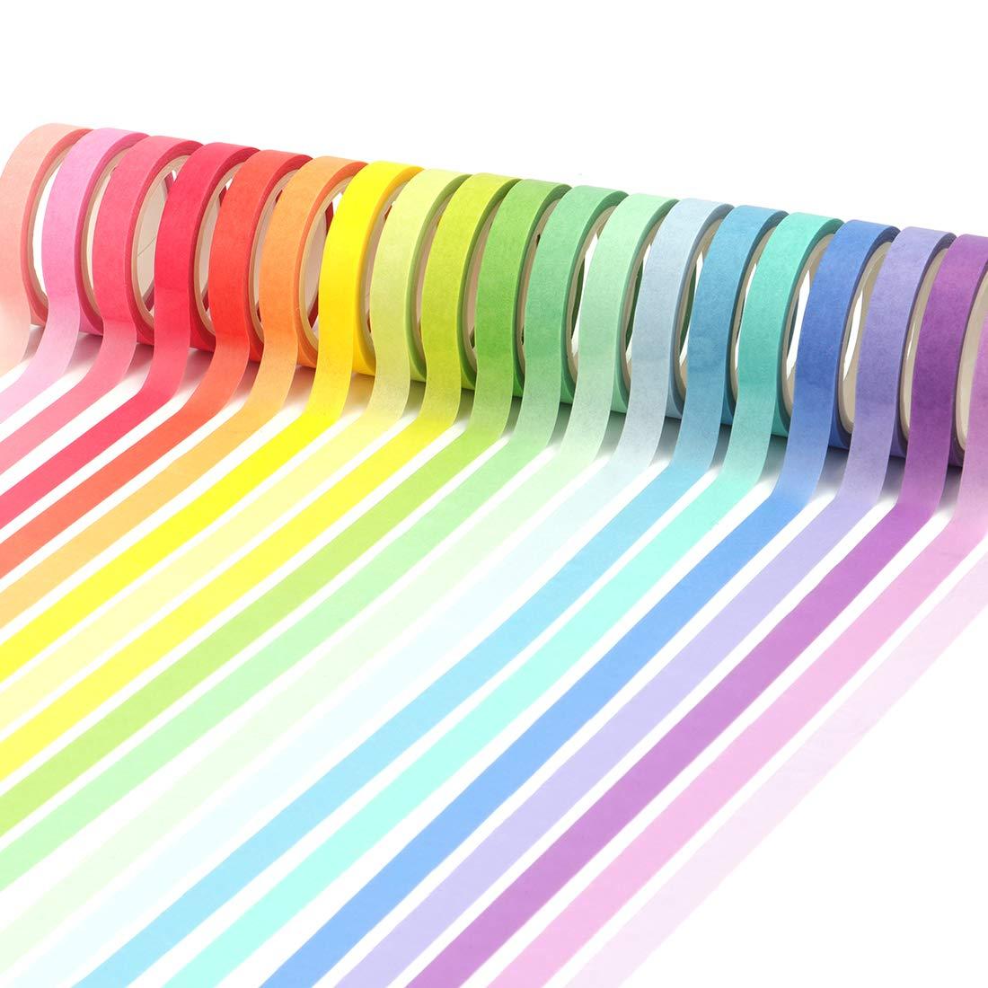 Mehrfarben Tebery 60x Washi Tape Set 3DIY Dekorative Regenbogen Klebeband Dekob/änder Aufkleber 3mmx5m,5mmx5m,7.5mmx5m