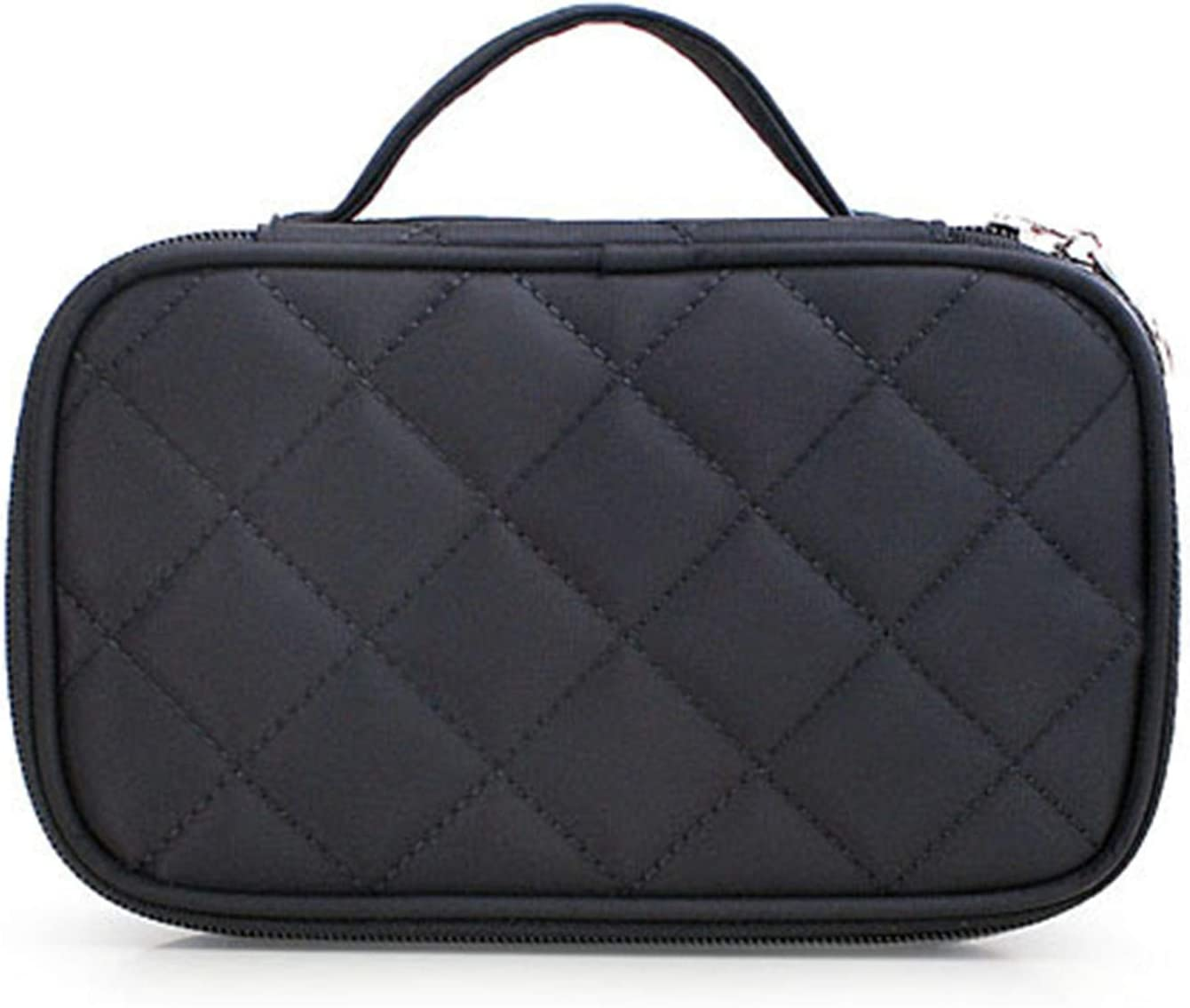 Black Large Makeup Bag, Travel Cosmetic Bag, Makeup Organizer Bag with Mirror for Women and Girls (Black)