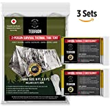 """Emergency 2-Adults Mylar Thermal Tent and Large 63"""" x 82"""" Blankets (2-Pack) Set - Designed for NASA - Perfect for Emergency First Aid Kit, Bug Out Bag, Survival, Hiking, Auto, or Outdoors"""