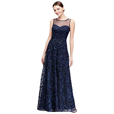 Davids Bridal Illusion Bodice Soutache Ball Mother Of Bride Groom Gown Style 3814DB At Amazon Womens Clothing Store