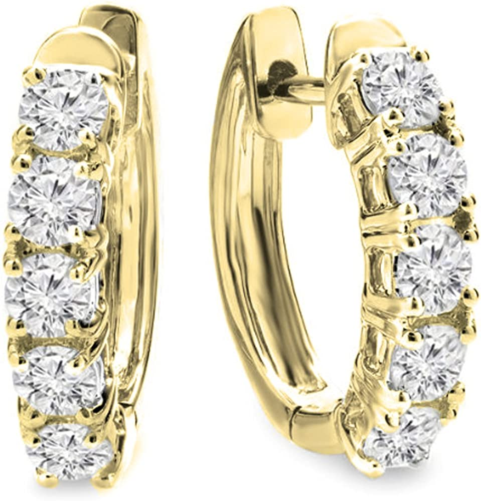 Pendientes de aro Dazzlingrock Collection de 1,00 quilates (ctw) de oro de 18 quilates con diamantes blancos redondos de 1 ct