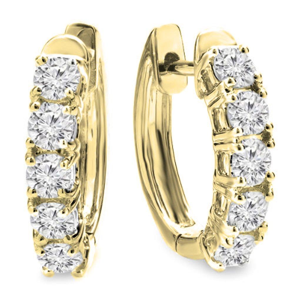 1.00 Carat (ctw) 14K Yellow Gold Round White Diamond Ladies Huggies Hoop Earrings 1 CT