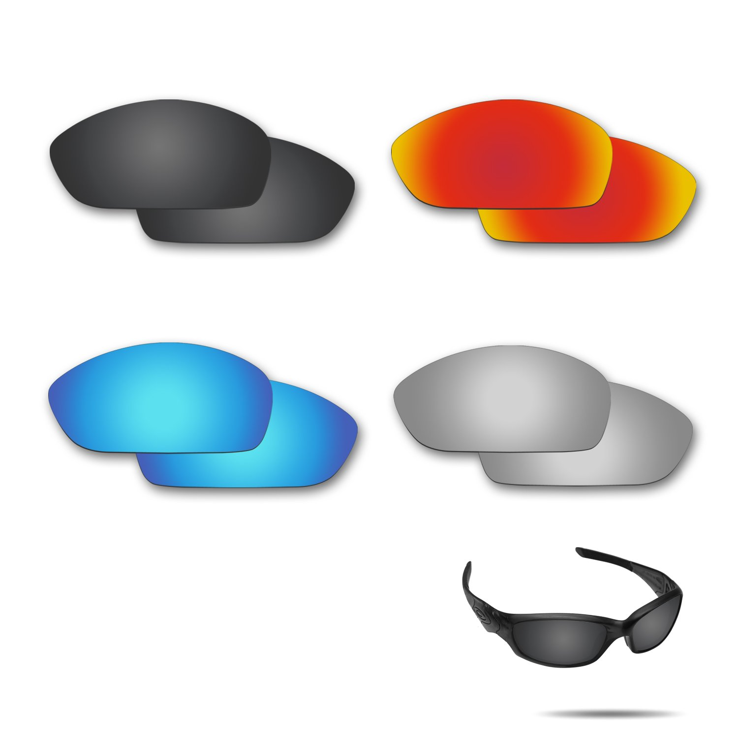 Fiskr Polarized Replacement Lenses for Oakley Straight Jacket 2007 Sunglasses 4 Pairs Pack
