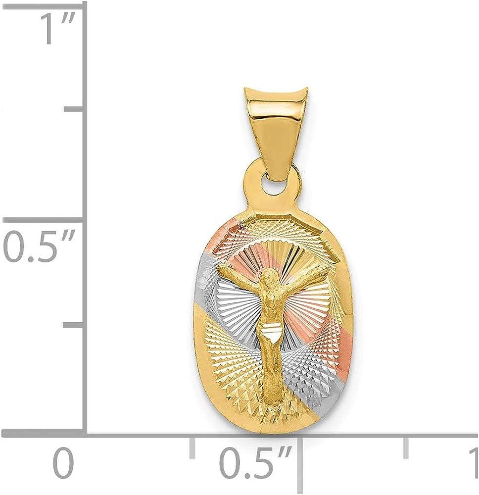 14k Yellow with White Rhodium Two-tone Gold Polished /& Diamond-cut CORPUS Oval Pendant