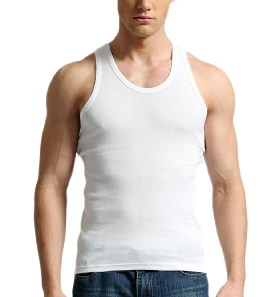 zhaoabao Mens Summer Solid Color Sleeveless Slim Sports Tank Tops