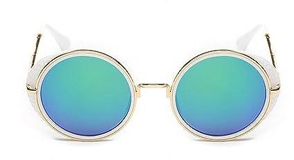 YUEER Gafas De Sol Vintage Película En Color Marco Redondo Gafas De Sol Mujeres Protección UV
