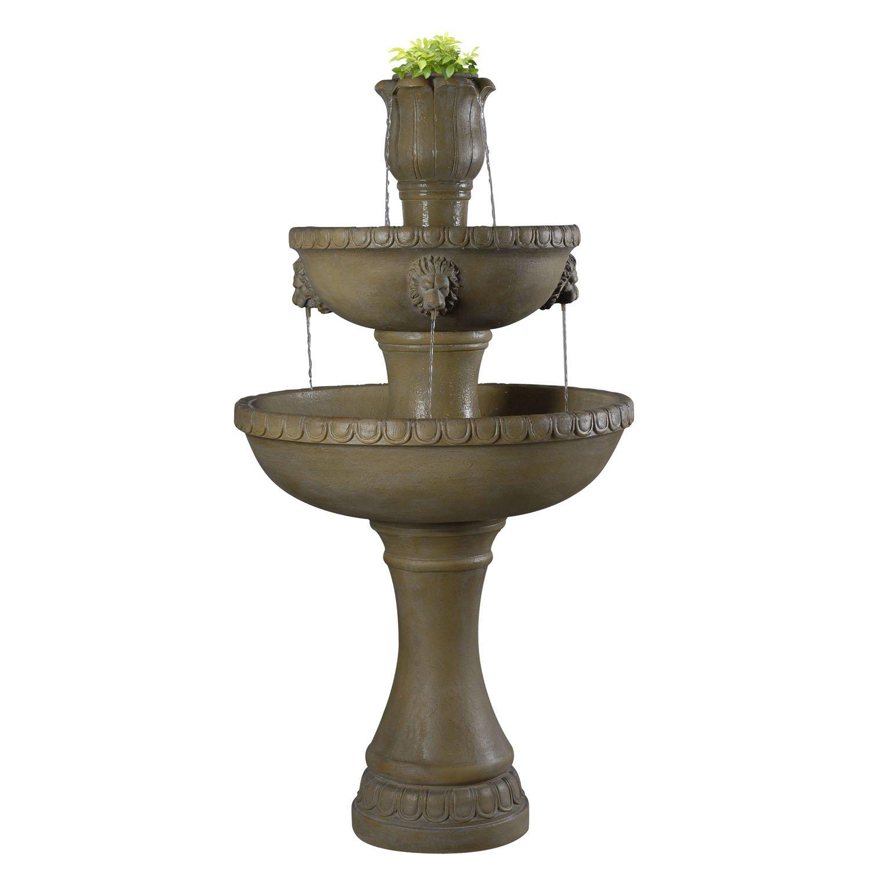 Kenroy Home Lyon Outdoor Floor Fountain, Dark Travertine