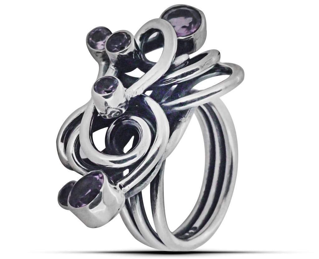 M/s Gajraj Purple Amethyst Twisted Band Infinity 925 Silver Ring, US-11