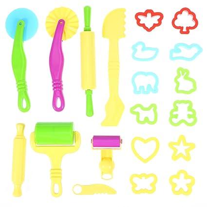 TOYMYTOY Kit de herramientas masa con modelos y moldes 20 piezas (color aleatorio)