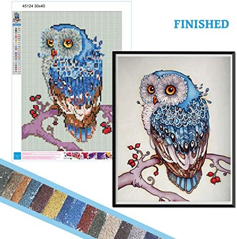 Diamond Painting via Number Kits, 5D DIY Full Round Drill 11.8 x 15.8 inch Owl Animal Diamond Painting for Adult Kids Gift, Home Living Room Bedroom Wall Decor Diamond Art Painting