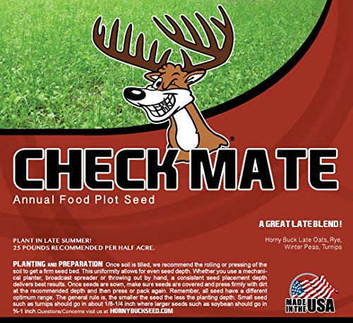 Horny Buck Food Plot Seed - Check Mate Blend Mix | 25 Pound Bag by Horny Buck Seed Co.