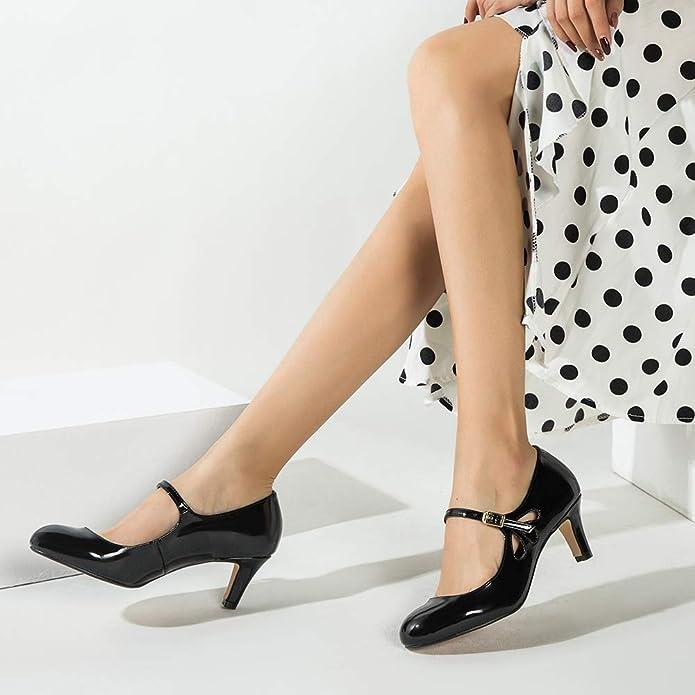 Ladies Round Toe kitten heels Strap Patent Leather Wedding Dress Shoes Grace Sz