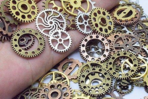 100g (70-80pcs) Mix Skeleton Steampunk Clock Watch Gear Cog Wheel Pendant Charms Jewelry Making Diy Steampunk Gear Pendant Charms Wholesale (4 color mixed) (Charms Charm Watch)