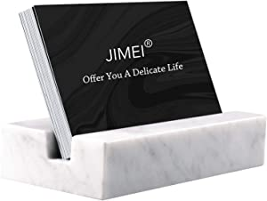 JIMEI Business Card Holder for Desk Marble Business Card Display Holders Desktop Business Cards Holder Stand Desk Card Display Holder for Home and Office (White)