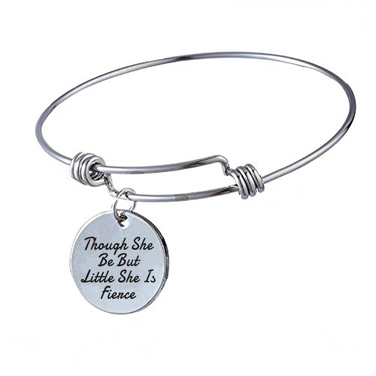 Inspirational Jewelry Gifts for Her  Though She Be But Little, She is fierce  Engraved Charm Bangle Bracelet Perfect Graduation Birthday Christmas Gifts For Girls