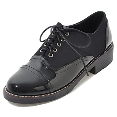Aisun Women's Lace Up Oxfords Shoes - Round Toe Burnished Low Heel - Casual Chunky Pumps