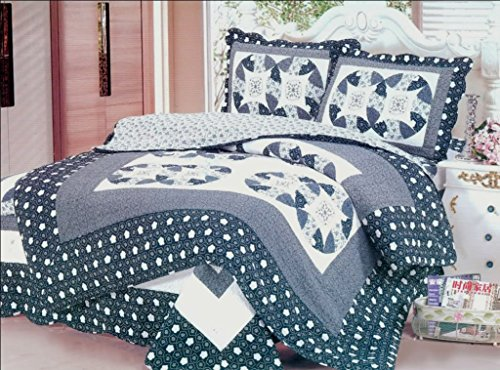 New Reversible 3PC Quilt Coverlet 100% Cotton Full Size Bedspread (Circle Patch) (Bedspreads Daybed)