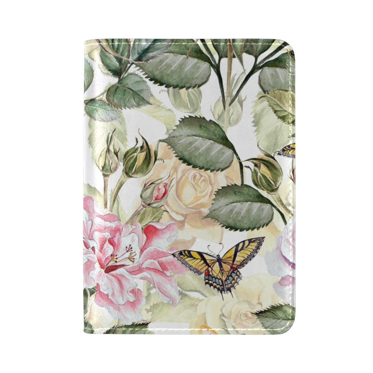 Floral Pattern With Flowers And Butterfly One Pocket Leather Passport Holder Cover Case Protector for Men Women Travel