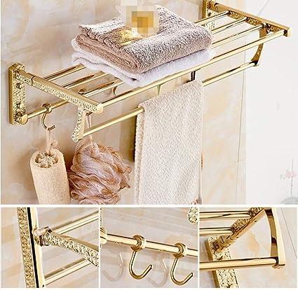 ZHFC Europea de Lujo Oro Cobre baño baño Toalla Estante Doble toallero baño almacenaje y organización