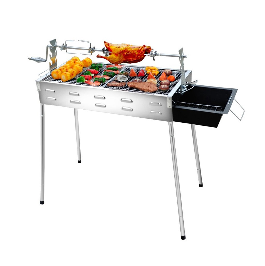ALUS- Outdoor Stainless Steel Barbecue Equipment Portable Barbecue Stove Household Charcoal Grill Thickening/Durable/Do Not Paint/Hot (66.53270CM) (Barbecue + 14 Accessories)