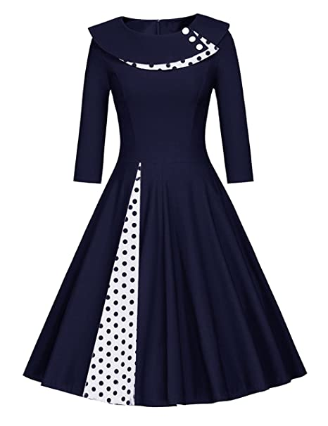 Là Vestmon Vestido Retro de cóctel para Mujer 50s Swing Vestido Vintage de Rockabilly Falda Plisada