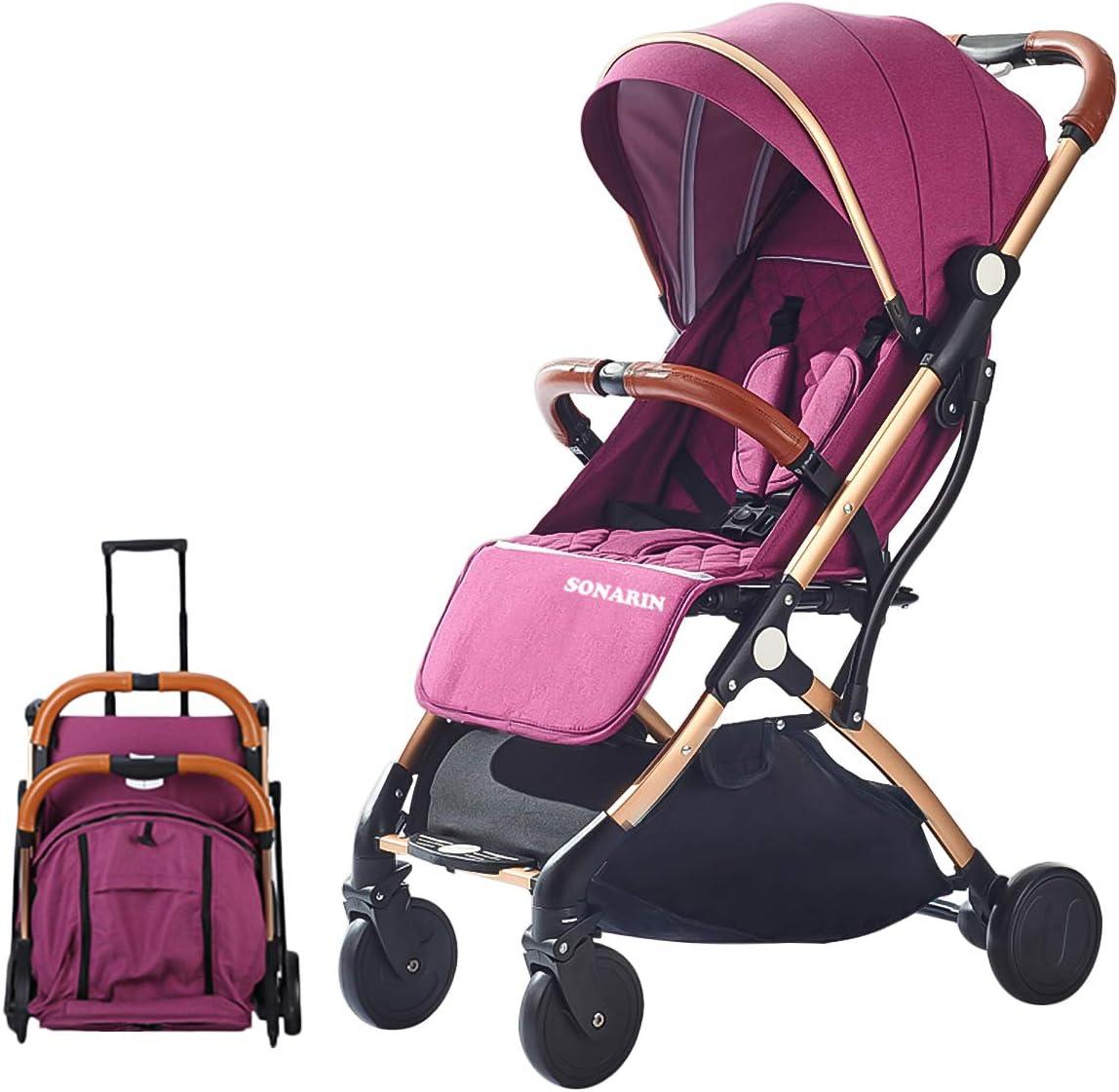 SONARIN Silla de paseo ligera y compacta,cochecito de portátil,plegable con una mano,arnés de cinco puntos,ideal para Avión(Púrpura)