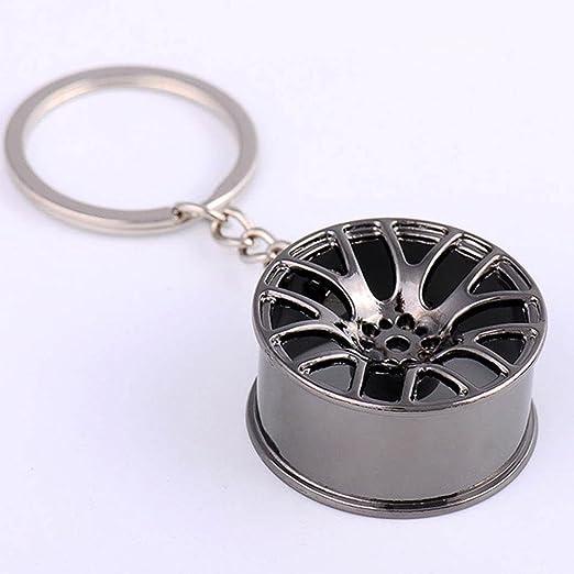 Llavero de RUNGA, con diseño de llanta de coche, creativo, para las llaves del coches, ideal como regalo, metal, negro: Amazon.es: Coche y moto