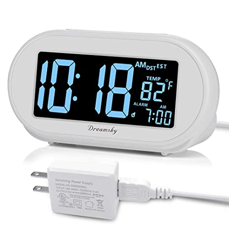 DreamSky Auto Time Set Alarm Clock with Snooze and Dimmer, Charging Station/Phone Charger with Dual USB Port .Auto DST Setting, 4 Time Zone Optional, ...